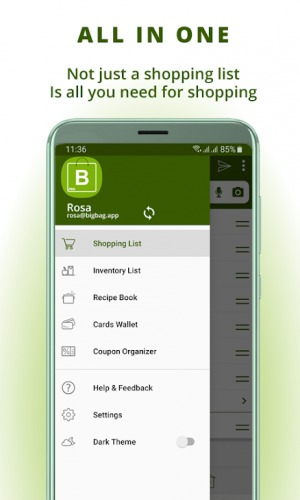 Grocery list, card coupon wallet BigBag Pro